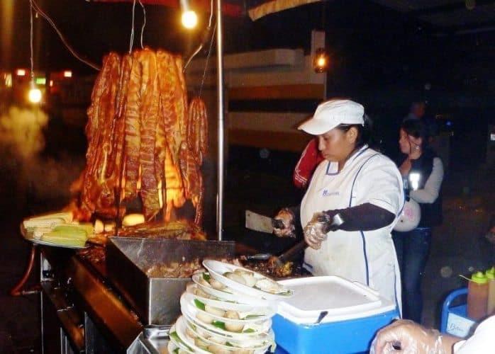 A street vendor selling steak outside the stadium.