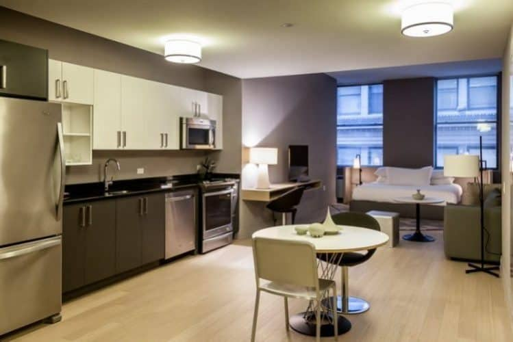Spacious kitchen at the Q & A Furnished apartments in lower Manhattan. Paul Shoul photos.