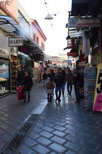 Inside a bazaar in Athens.