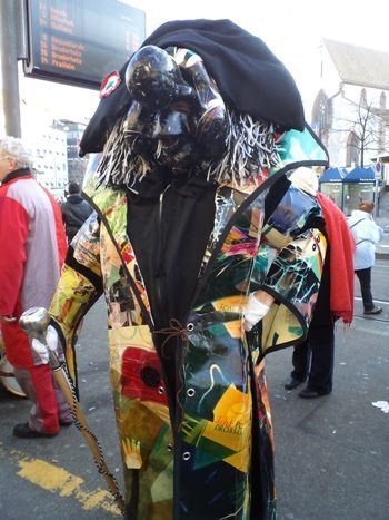 Costumed revelers at Basler Fasnacht in Basle Switzerland.