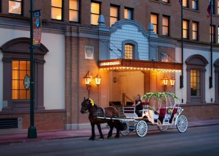 Romantic buggy rides take guests on a tour of the downtown at the St. Anthony Hotel, just a few blocks from the Alamo.