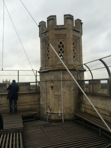 Cambridge is cold and blustery and you may feel more of a chill at the top of the Tower, but don't forget to take a few panoramic shots of the view below!