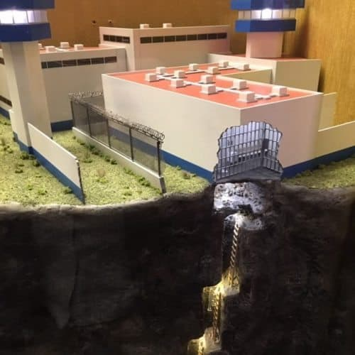 A scale model at the Mob Museum shows the Mexican prison where associates of El Chapo dug a tunnel and helped him escape earlier this year.