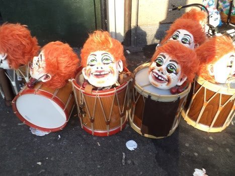 Drums are part of the elaborate once a year celebration of Basler Fasnacht.