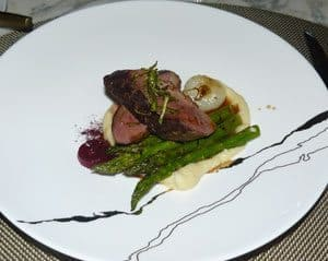 Duck with asparagus and turnip puree at Champlain