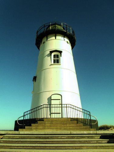 Edgartown Lighthouse, located on a pretty beach with a great view of the Edgartown Harbor on Martha's Vineyard.