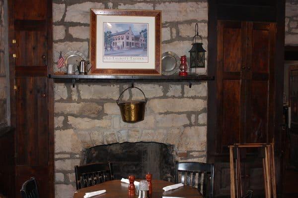 Fireplace at Talbotts Tavern.