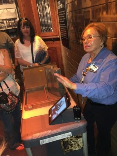 At the Mob Museum, an employee shows us an attache case that held two one-gallon flasks used during Prohibition.