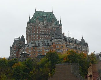 The Chateau Frontenac towers over the city like a stately colossus.