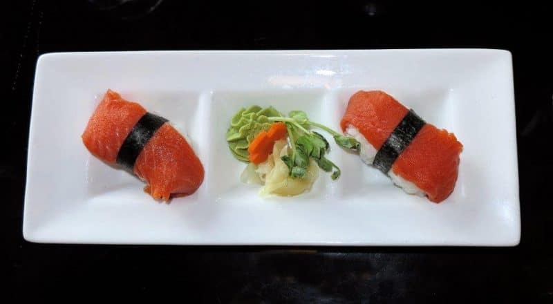 Salmon sushi, the specialty of Vancouver.