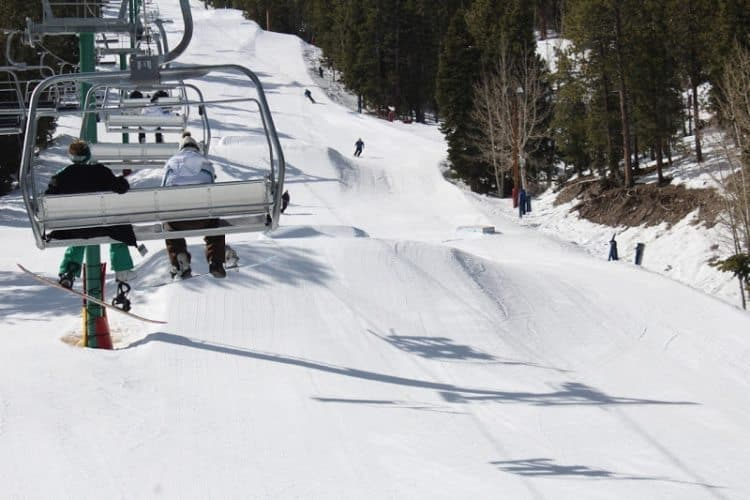 The terrain park at Lee Canyon ski area, near Las Vegas Nevada.