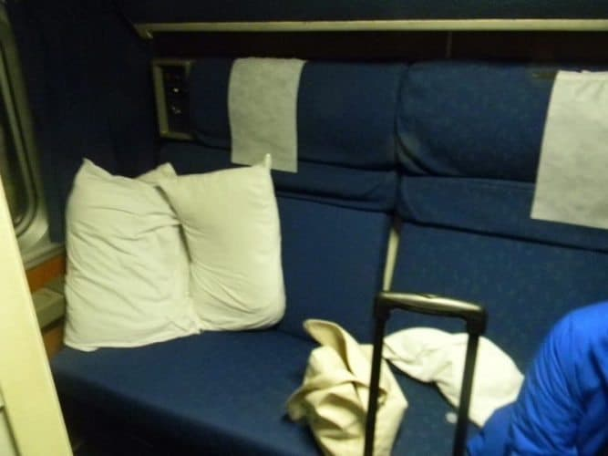 The Amtrak train seats, always way more comfortable than any coach airplane seat.