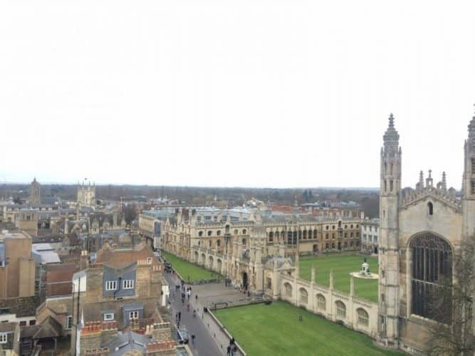 The view from the Tower at Great St. Mary's is spectacular. Look over at the University town from one side, and then switch to the other side for an aerial view of Parker's Piece. Rhea Cawsi Dhanbhoora photos.