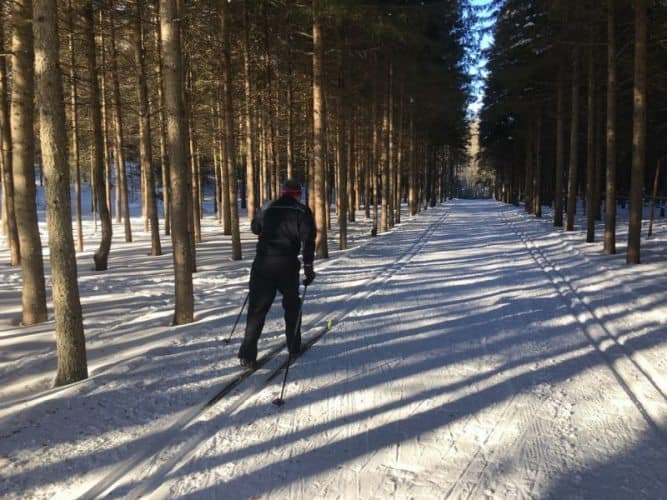 Cross country skiing near Tremblant at Ski Du Fond.