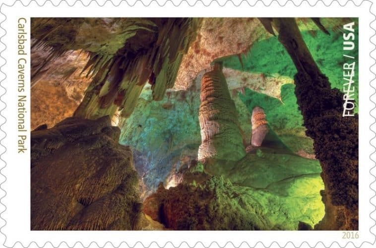 Carlsbad Caverns National Park, NM The stamp image is a photograph by Richard McGuire of the interior of the caverns. High ancient sea ledges, deep rocky canyons, flowering cacti and desert wildlife are all treasures above and below the Chihuahuan Desert ground. Carlsbad Cavern is one of more than 300 limestone caves in a fossil reef laid down by an inland sea 240 million to 280 million years ago. Visit this link for more information. Other National Park Forever Stamps previewed to date include Acadia National Park and Arches National Park, Assateague Island National Seashore and Bandelier National Monument.