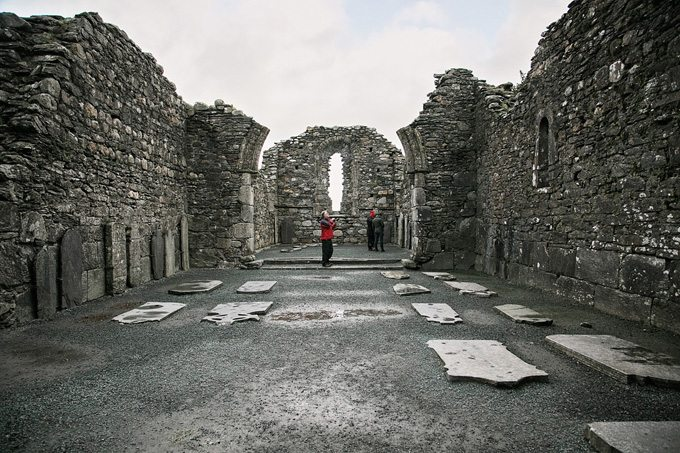 Glendalough was founded by St. Kevin in the sixth century and flourished as a monastery during the Age of Saints. It was destroyed in 1398.