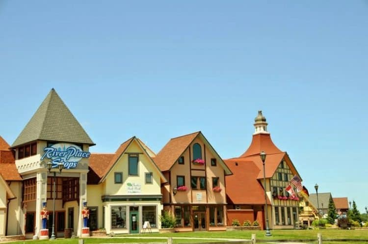 Half Timbered Architecture of the River Place Shops in Frankenmuth, Michigan. Amy Piper photos.