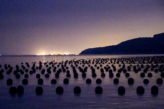 Buoys out at sea ready for harvesting.