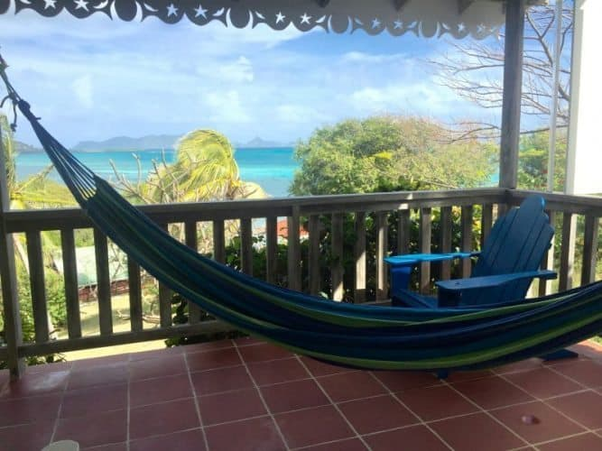The view from the Green Cottage at Bayaleau in Carriacou, Caribbean. Ann Banks photos.