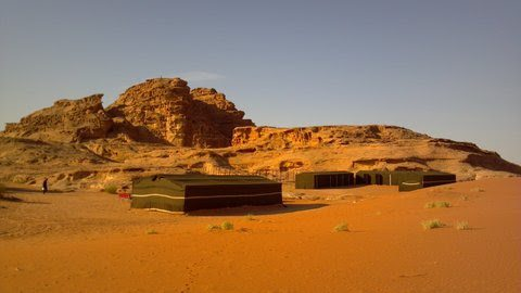 Moon Valley Camp, here seen from a ridge, is one of scores of Bedouin camps offering accommodations.