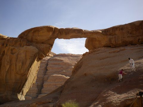 Natural rock bridges such as Um Fruth, are a temptation to climbers.