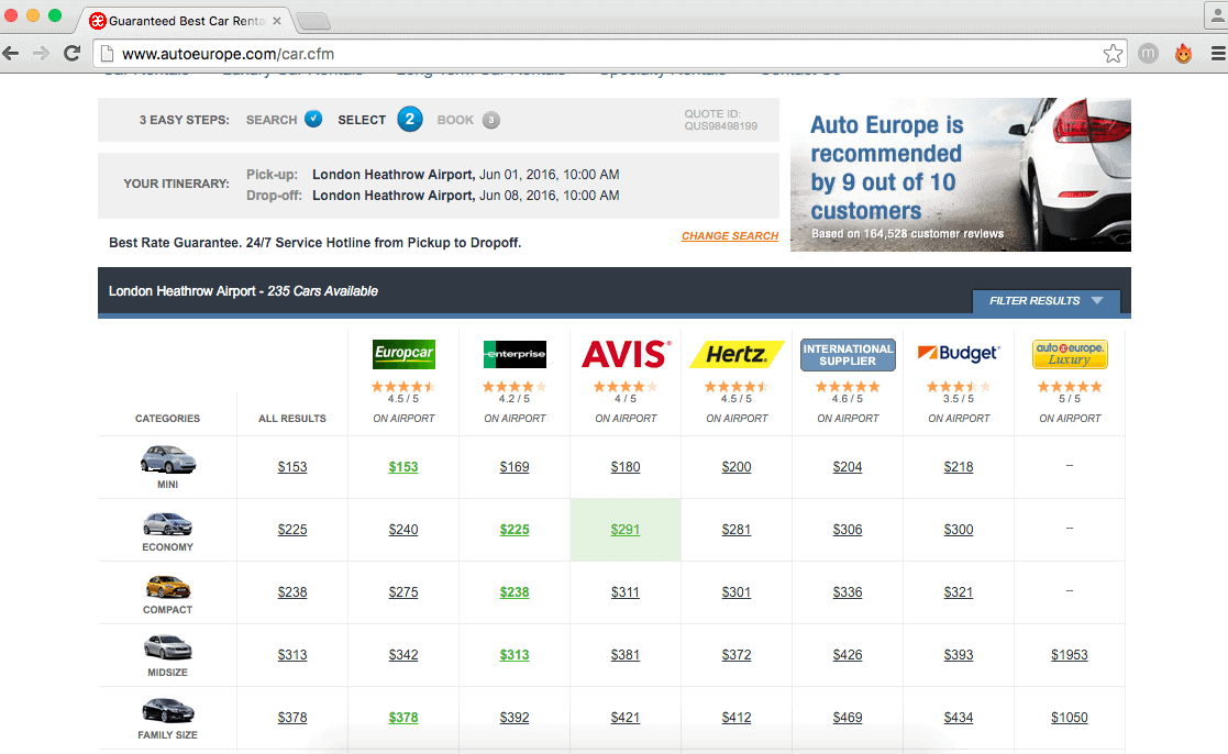 Auto Europe sorts car rentals by cost