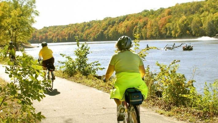 Minneapolis Outdoors, biking on a trail.