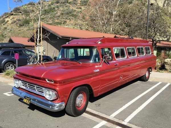 Riding in style: a 1962 Chevy Stageway coach is how guests get ferried around at the Ranch at Laguna Beach.
