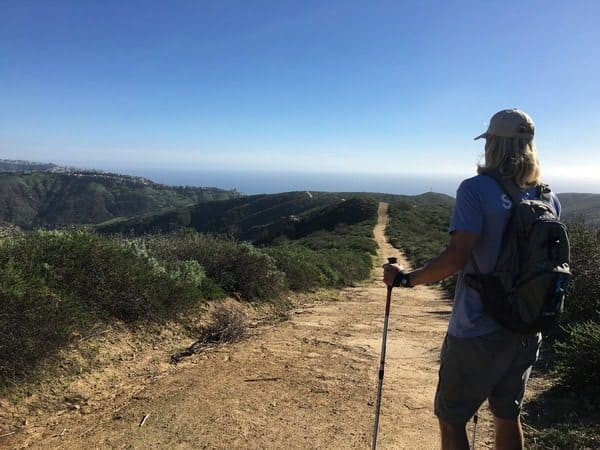 Hiking in wilderness above Laguna Beach, California.
