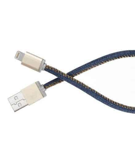 lifestar cable fashion denim blues micro usb 1 metre