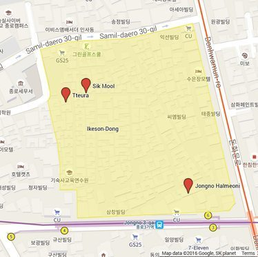 A map of Ikeson Dong, in Seoul.