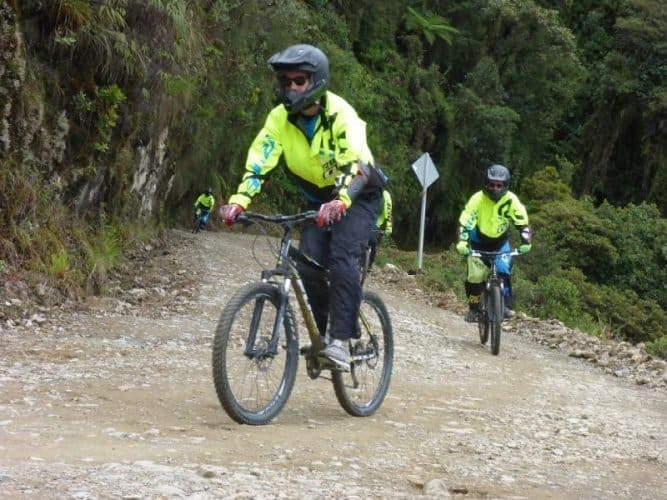 Stand up pedalling is recommended on the steep downhill track.