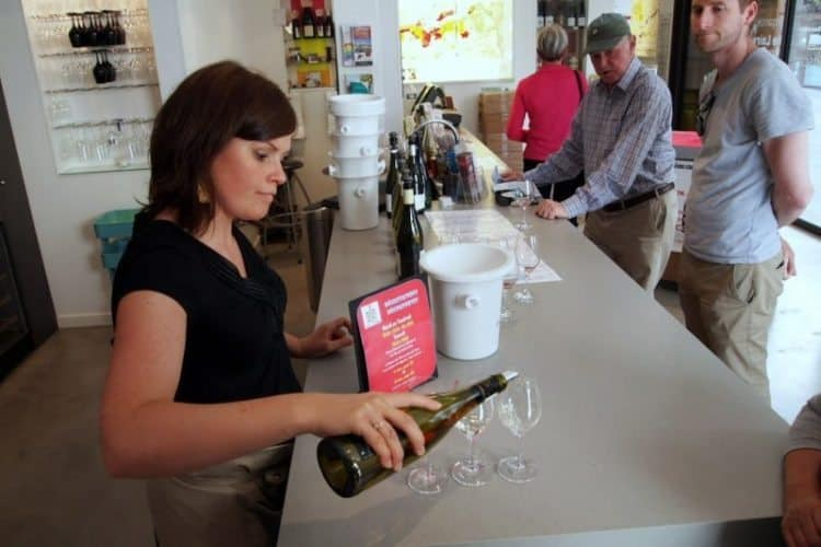 Tasting Loire Valley wines at the Tasting Center in Tours. Max Hartshorne photo.