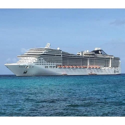MSC ship travelling through the Caribbean.