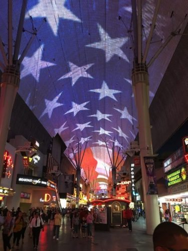 Fremont Street Video ceiling displays a wide array of images and video along 400 feet of screen.