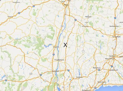 Hudson Valley, Rhinebeck marked with the X.