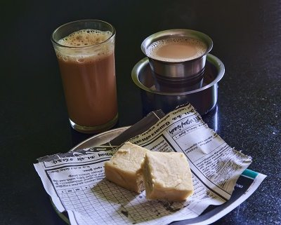 Soan Papdi - a gorgeous cardamom biscuit and two shots of Masala Chai - I was thirsty!