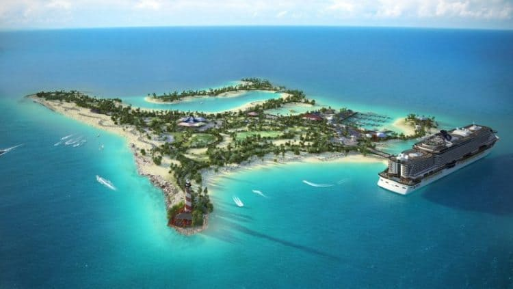 An image of the predicted layout for Ocean Cay island. MSC Cruises Pics.