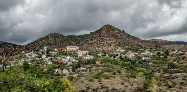 View of Jerome from a hill. Haunted Jerome AZ