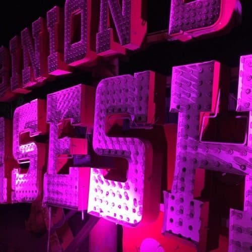 A nighttime tour of the Neon Museum shows signs like this from one of the city's first casinos, Binions.