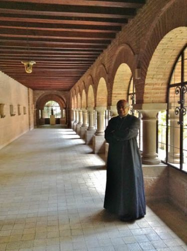 Bishop Gordon Bennett, S.J. of Los Angeles in the abbey, celebrating 50 years as a Jesuit.