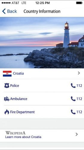 The app includes emergency numbers and links for destination info for any country in the world. Very useful!