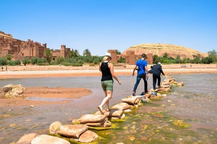 crossing a river near Aït-Ben-Haddou, Morocco. Kirsten Smith photos.