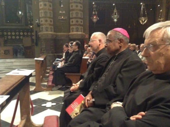 Bishop Bennett, S.J., accompanied by the prior, Fr. Ignasi Fossas (R), and Fr. Daniel (L).