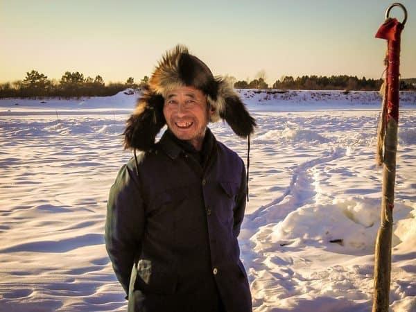 ice fisherman in Northern China.