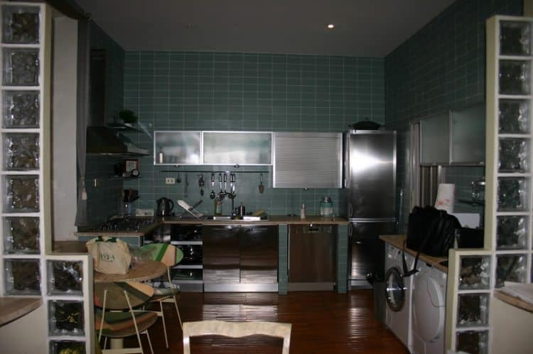 The apartment's kitchen.