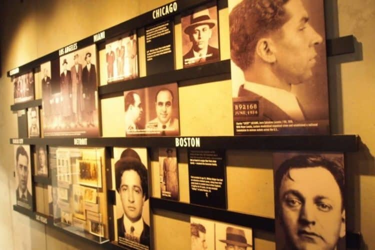 At the Mob Museum: Four floors of gangsters and G-man exhibits.