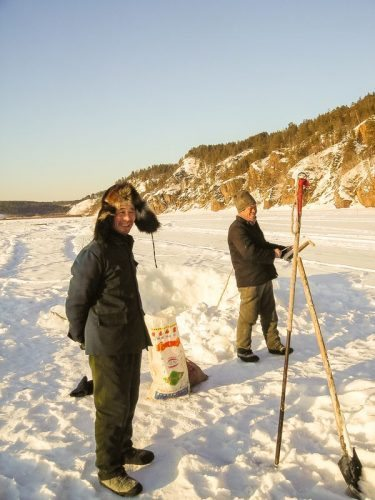 Two ice fishermen in northern China. Branson Quenzer photos.