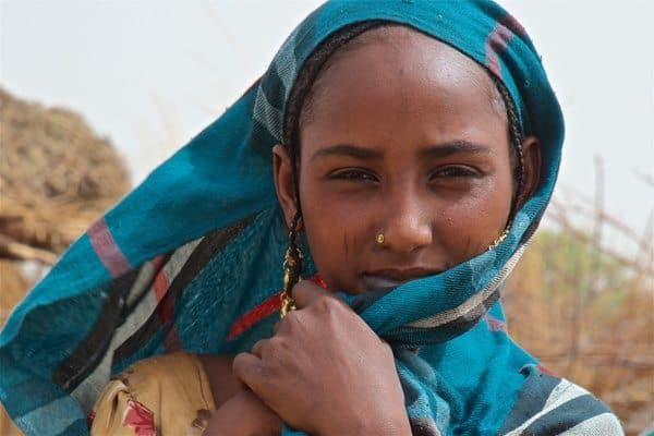 A woman in blue, a traditional color in Chad. Michael Lorentz photo.