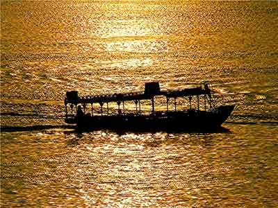 A boat traveling down the Nile in Egypt.